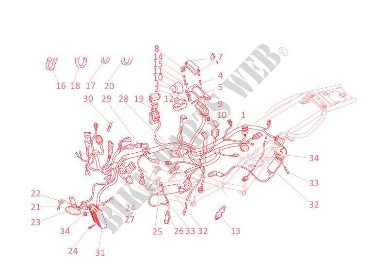 wiring harness for ducati monster 900 s i.e. 2001 # ducati online genuine  spare parts catalog  ducati