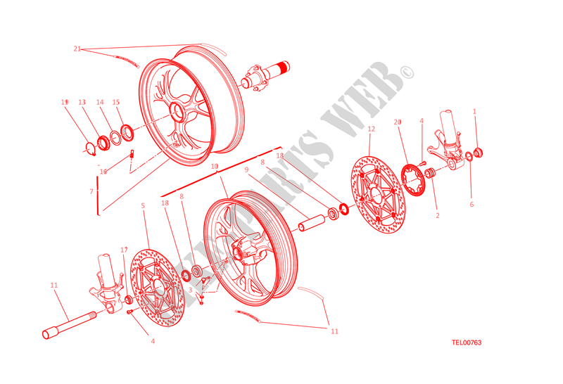 FRONT & REAR WHEELS for Ducati 1299 Panigale S 2015