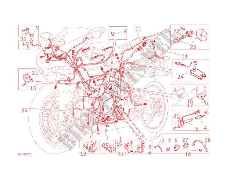 wiring harness for ducati 848 evo corse 2013 # ducati online genuine spare  parts catalog  ducati