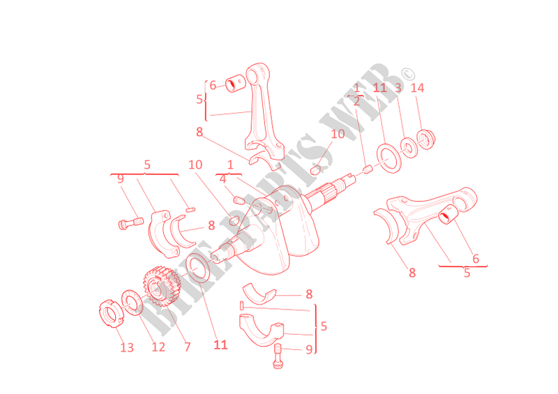 CONNECTING RODS for Ducati 848 EVO 2012