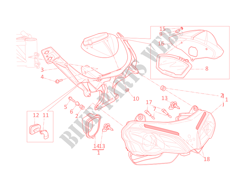 FRONT HEADLIGHT AND INSTRUMENT PANEL for Ducati 848 EVO 2012