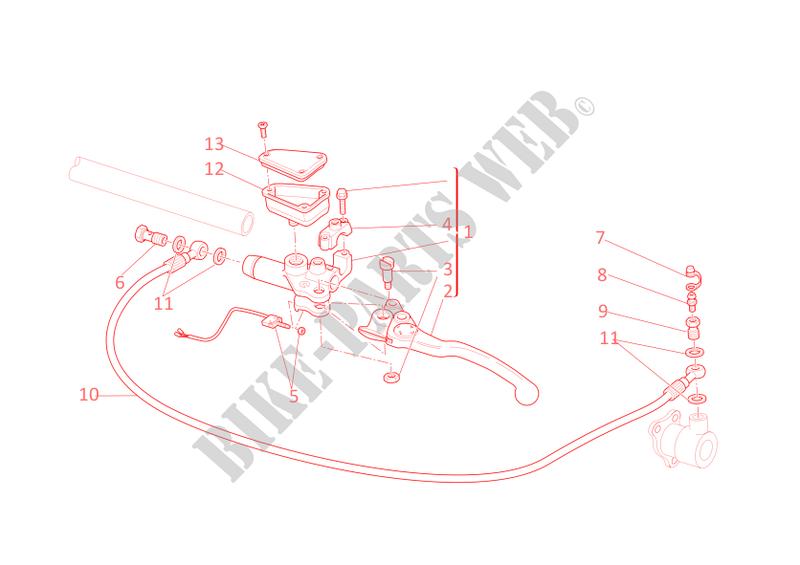 ducati motorcycle multistrada 2009 multistrada 1100 s multistrada 1100 s  multistrada 1100 s clutch master cylinder