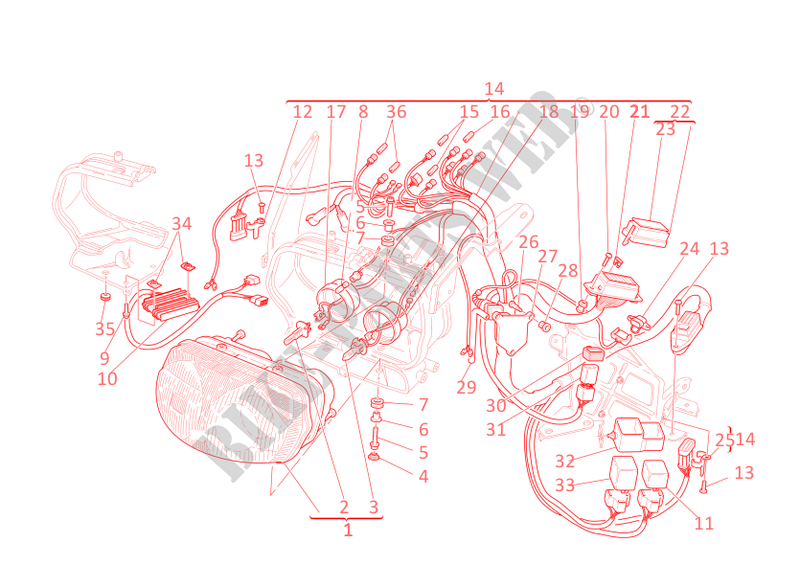 HEADLIGHT & WIRING HARNESS for Ducati ST2 2003 # DUCATI ... on ducati engine, ducati 1098s diagram, ducati parts diagram, ducati frame, ducati piston, ducati valve, ducati clutch, ducati 848 wiring schematic, ducati single wiring, ducati accessories, ducati clock, ducati monster 900 wiring, ducati starter circuit, ducati electrical diagrams, ducati regulator schematic,