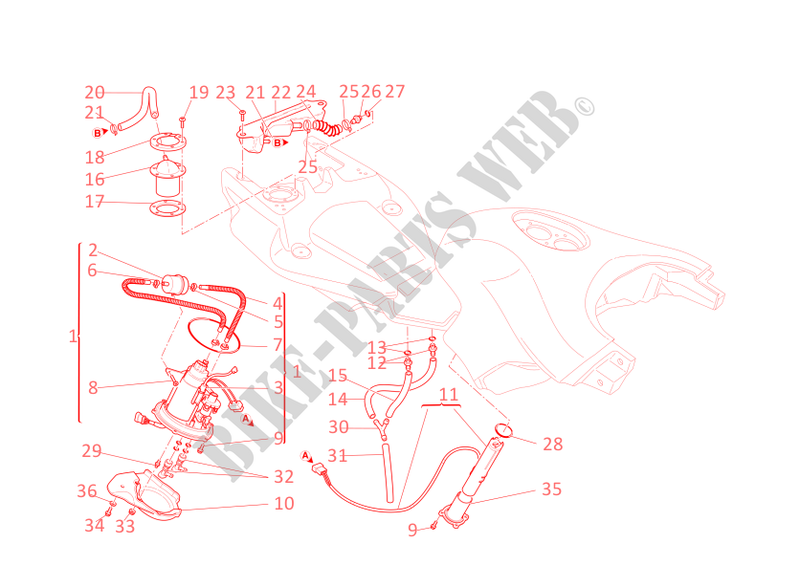 ducati motorcycle multistrada 2005 multistrada 1000 ds multistrada 1000 ds  multistrada 1000 ds fuel system