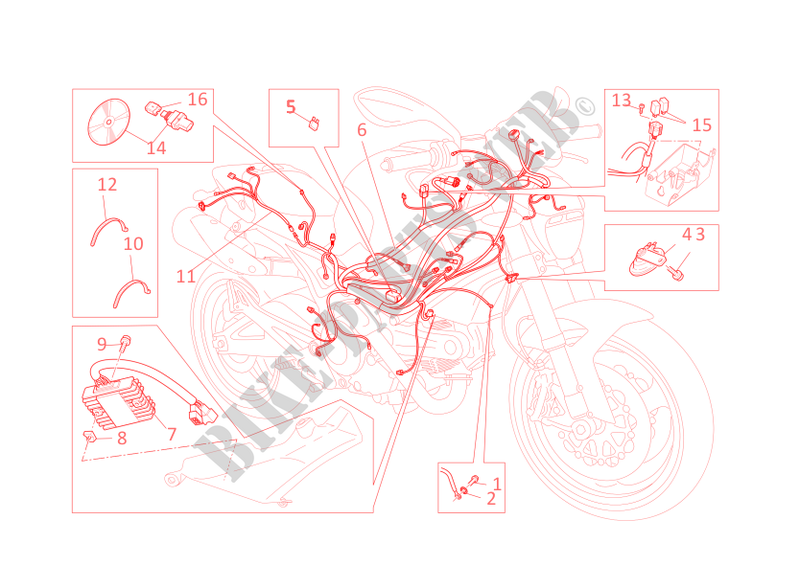 wiring harness monster 795 monster 795 2012 monster ducati
